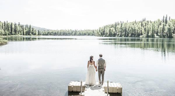 Bride And Groom At X Y Lake Art Print