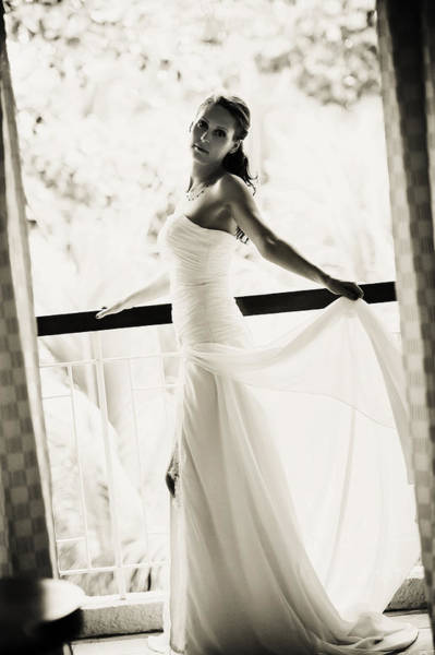 Wedding Reception Photograph - Bride At The Balcony. Black And White by Jenny Rainbow