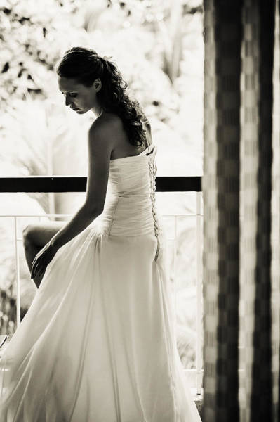 Wedding Reception Photograph - Bride At The Balcony II. Black And White by Jenny Rainbow