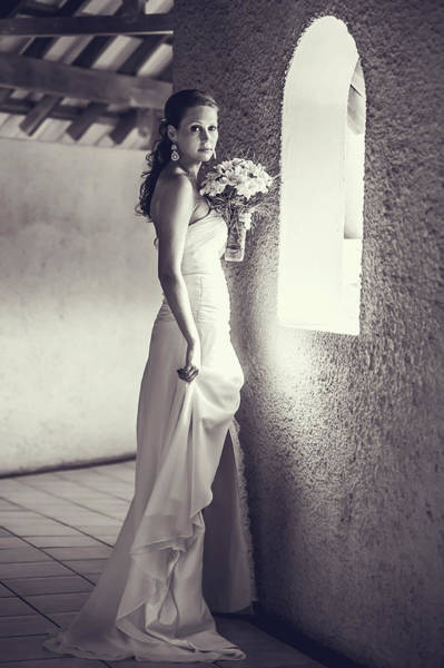 Wedding Reception Photograph - Bride At The Window. Black And White by Jenny Rainbow
