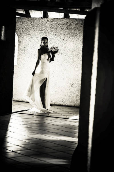 Wedding Reception Photograph - Bride. Black And White by Jenny Rainbow