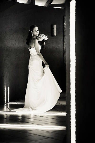 Wedding Reception Photograph - Bride I. Black And White by Jenny Rainbow