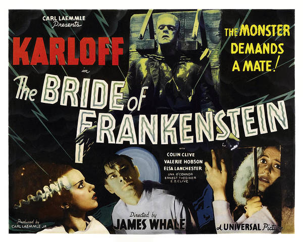 Boris Karloff Photograph - Bride Of Frankenstein Lobby Poster 1935 by Daniel Hagerman
