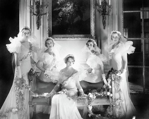 Headband Photograph - Bridesmaids For The Wedding Of Sir Hugh Houston by Cecil Beaton