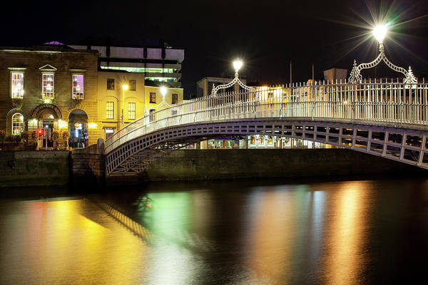 River Liffey Wall Art - Photograph - Bridge Across A River At Night, Hapenny by Panoramic Images