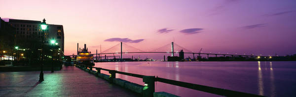 Lamppost Photograph - Bridge Across A River, Savannah River by Panoramic Images