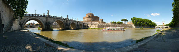 Tiber Wall Art - Photograph - Bridge Across A River With Mausoleum by Panoramic Images