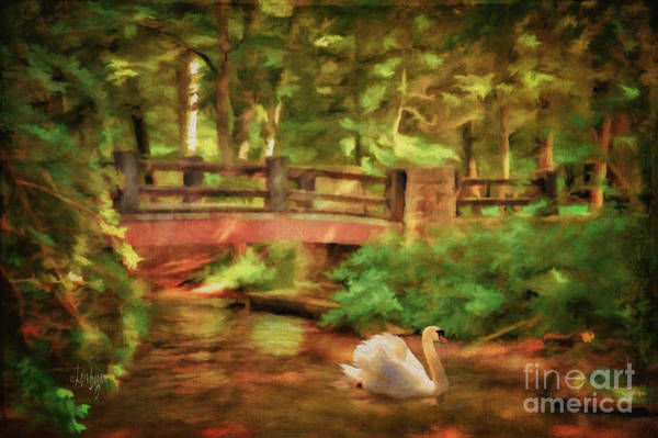 Digital Art - Bridge And Swan by Lois Bryan