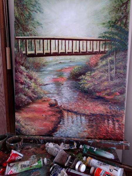 Wall Art - Painting - Bridge By The River by Rosita Lopez