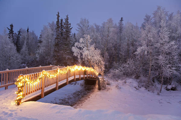 Christmas Photograph - Bridge Decorated With Christmas Lights by Jeff Schultz