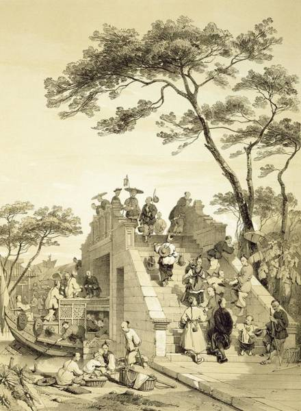Chinese Drawing - Bridge Near Canton, Plate 30 by Auguste Borget