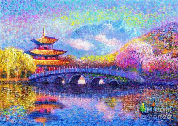 Pink Blossom Painting - Bridge Of Dreams by Jane Small