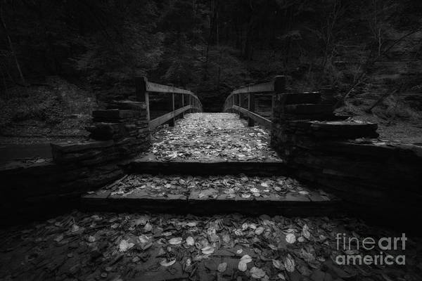 Dreary Photograph - Bridge Of Gold Bw by Michael Ver Sprill