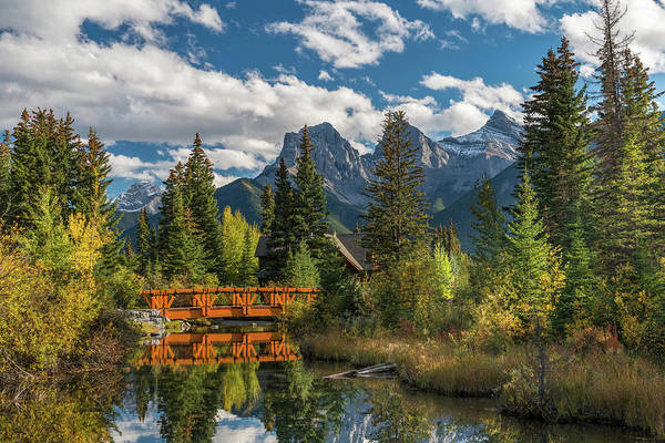 Canmore Photograph - Bridge On Spring Creek, Three Sisters by Panoramic Images