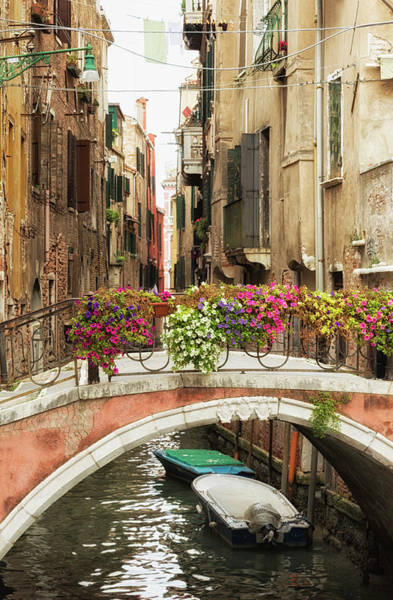 Photograph - Bridge Over A Canal With Flowers, Venice by Elisabeth Pollaert Smith