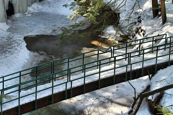 Photograph - Bridge Over Frozen River by Dan Sproul