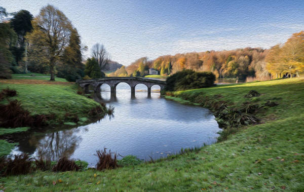 Stourhead Photograph - Bridge Over Main Lake In Stourhead Gardens During Autumn Digital Painting by Matthew Gibson