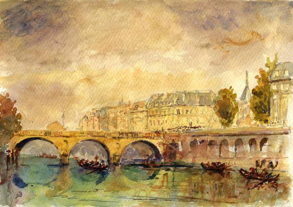 Cathedral Painting - Bridge Over The Seine Paris. by Juan  Bosco