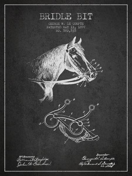 Bridle Wall Art - Digital Art - Bridle Bit Patent From 1897 - Charcoal by Aged Pixel