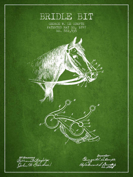 Bridle Wall Art - Digital Art - Bridle Bit Patent From 1897 - Green by Aged Pixel