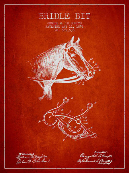 Bridle Wall Art - Digital Art - Bridle Bit Patent From 1897 - Red by Aged Pixel