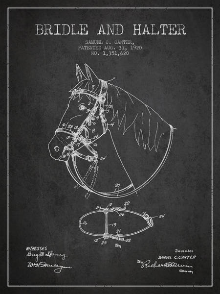 Bridle Wall Art - Digital Art - Bridle Halter Patent From 1920 - Charcoal by Aged Pixel