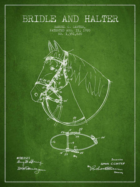 Bridle Wall Art - Digital Art - Bridle Halter Patent From 1920 - Green by Aged Pixel
