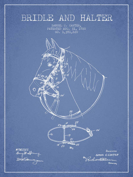 Bridle Wall Art - Digital Art - Bridle Halter Patent From 1920 - Light Blue by Aged Pixel