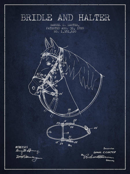 Bridle Wall Art - Digital Art - Bridle Halter Patent From 1920 - Navy Blue by Aged Pixel