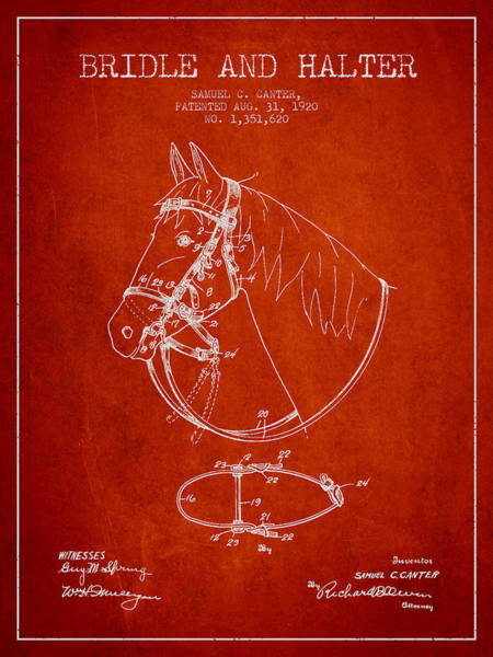 Bridle Wall Art - Digital Art - Bridle Halter Patent From 1920 - Red by Aged Pixel