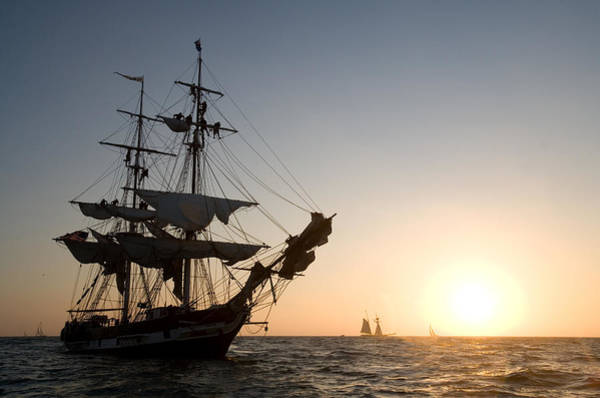 Photograph - Brig Pilgrim At Sunset by Cliff Wassmann