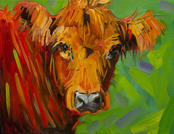 Wall Art - Painting - Bright And Beautiful Cow by Diane Whitehead