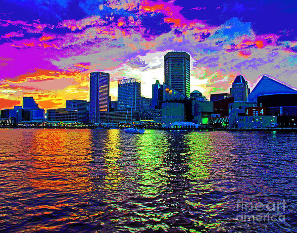 Photograph - Bright Baltimore Harbor Sunset by Larry Oskin