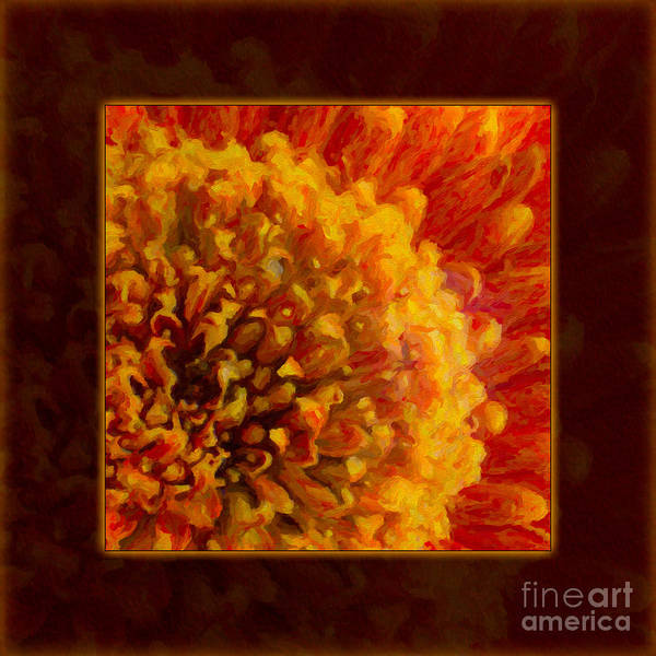 Painting - Bright Budding And Golden Abstract Flower Painting by Omaste Witkowski
