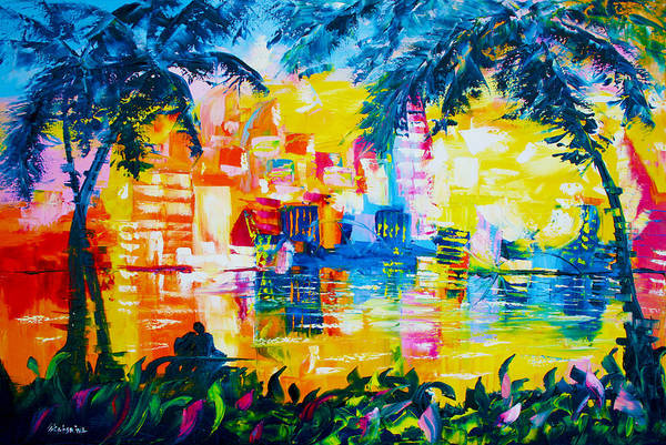 Painting - Bright Cityscape Through Palm Trees Romantic Couple by Ekaterina Chernova