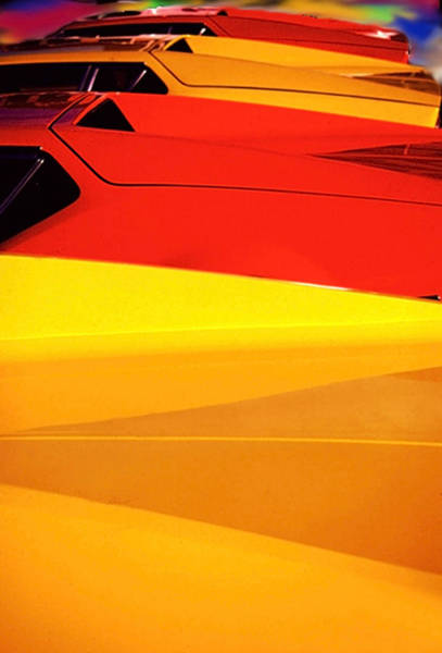 Photograph - Bright Color Ferrari's by Gary De Capua