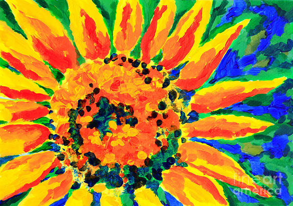 Painting - Bright Colorful Single Sunflower Acrylic Painting by Beverly Claire Kaiya