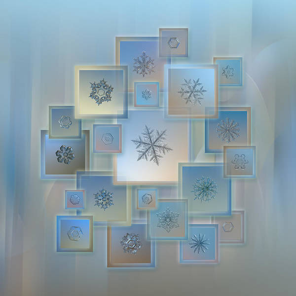 Natural Light Photograph - Snowflake Collage - Bright Crystals 2012-2014 by Alexey Kljatov