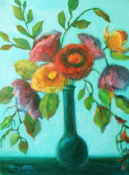 Painting - Bright Flower Bouquet by Mary Wolf