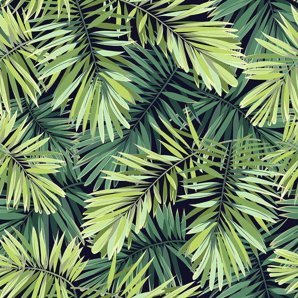 Beach Holiday Digital Art - Bright Green Background With Tropical by Msmoloko