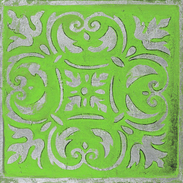 Wall Art - Mixed Media - Bright Green Mosaic by Patricia Pinto