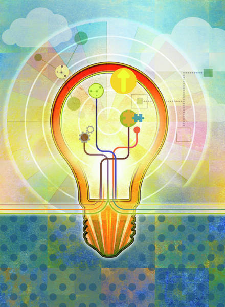 Wall Art - Photograph - Bright Light Bulb With Connections by Ikon Images