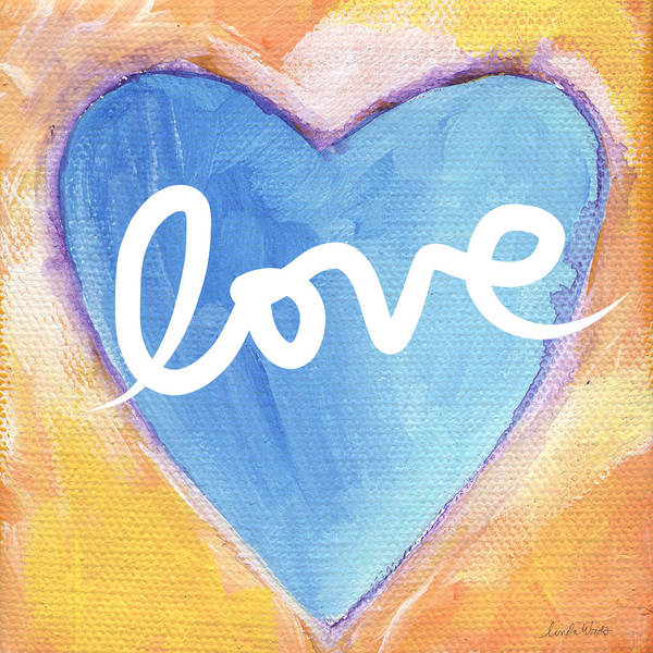 Blue Heart Wall Art - Painting - Bright Love by Linda Woods