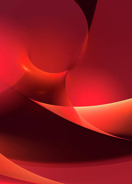 Smooth Digital Art - Bright Red Curve Abstract Backgrounds by Aeriform