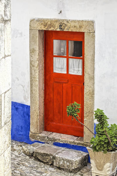 Photograph - Bright Red Wood Door Of Portugal by David Letts