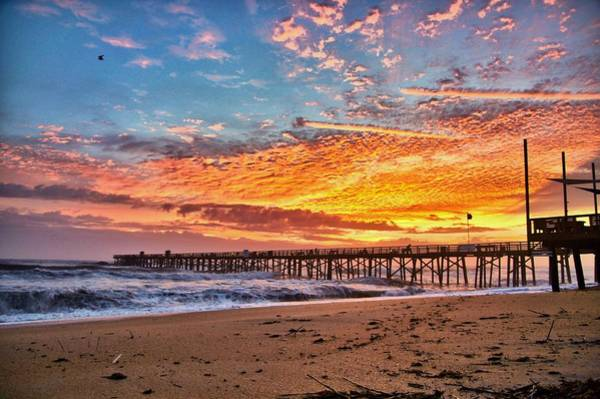 Flagler Photograph - Bright Sunrise At Flagler Beach Pier by David Jordan