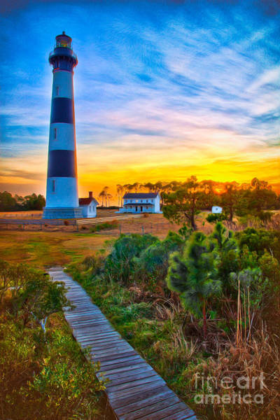 Bodie Painting - Bright Sunset At Bodie - Outer Banks II by Dan Carmichael