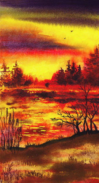 Umber Painting - Bright Sunset  by Irina Sztukowski