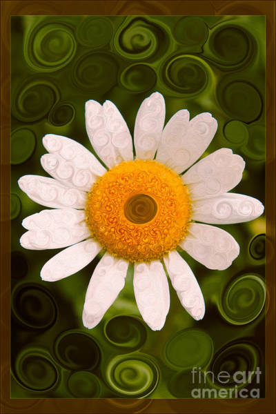 Painting - Bright Yellow And White Daisy Flower Abstract by Omaste Witkowski
