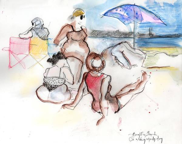 Sunbather Wall Art - Painting - Brighton Beach On A Windy Day by Carolyn Weltman